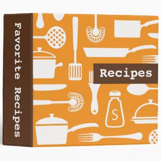 Retro brown orange kitchen recipe binder organizer