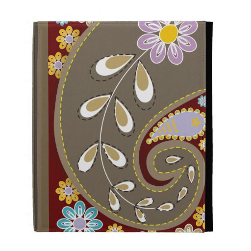 Retro brown paisley motif custom iPad folio cover
