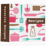 Retro brown pink aqua kitchen recipe organizer vinyl binder