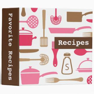 Retro brown pink kitchen recipe binder organizer