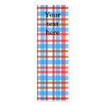 Retro brown white red blue plaid Double-Sided mini business cards (Pack of 20)