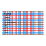 Retro brown white red blue plaid Double-Sided standard business cards (Pack of 100)