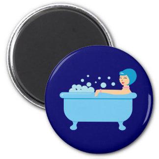 Retro Bubble Bath Girl 2 Inch Round Magnet