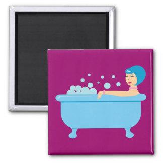 Retro Bubble Bath Girl 2 Inch Square Magnet