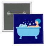 Retro Bubble Bath Girl Buttons