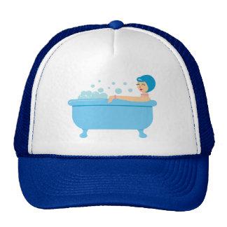 Retro Bubble Bath Girl Trucker Hats