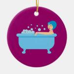 Retro Bubble Bath Girl Ornament