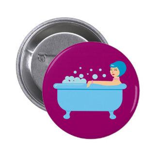 Retro Bubble Bath Girl Pinback Button