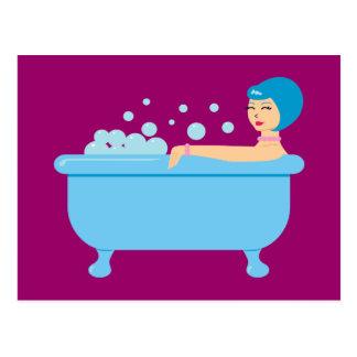 Retro Bubble Bath Girl Postcard