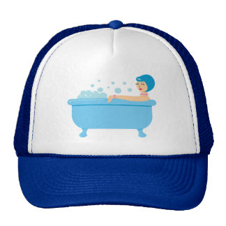 Retro Bubble Bath Girl Trucker Hat