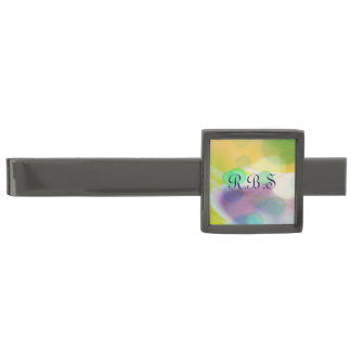 Retro Bubbles Gold, Aqua & Violet Modern Tie Bar