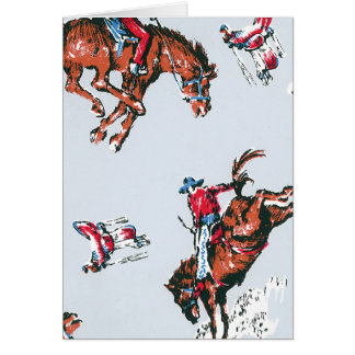 Retro Bucking Broncho Greeting Card