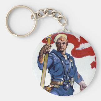 Retro Buff Navy Sailor Patriotic Fighting Man Keychain