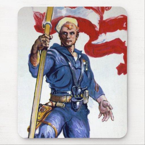 Retro Buff Navy Sailor Patriotic Fighting Man Mouse Pad
