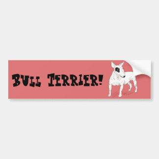 Retro Bull Terrier Doodle on Peach Background Bumper Sticker