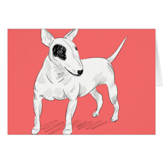 Retro Bull Terrier Doodle on Peach Background Card