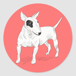 Retro Bull Terrier Doodle on Peach Background Classic Round Sticker