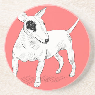 Retro Bull Terrier Doodle on Peach Background Drink Coaster