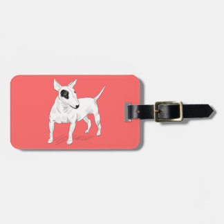 Retro Bull Terrier Doodle on Peach Background Luggage Tag