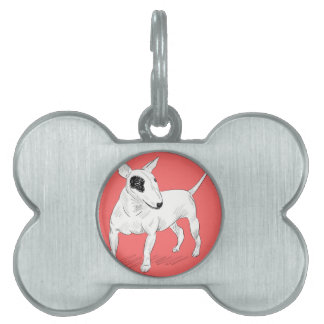 Retro Bull Terrier Doodle on Peach Background Pet Tag