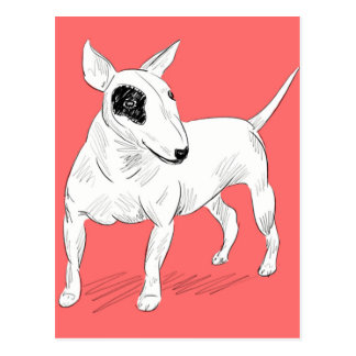 Retro Bull Terrier Doodle on Peach Background Postcard
