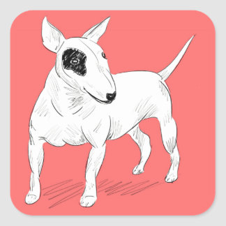 Retro Bull Terrier Doodle on Peach Background Square Sticker