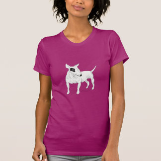 Retro Bull Terrier Doodle on Peach Background T-shirt