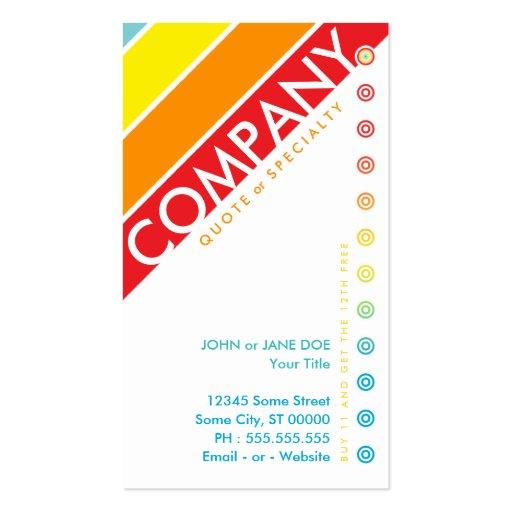 retro bullseye punchcard (buy 11 get 1 free) business card template