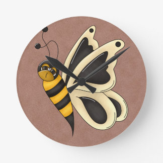 Retro Bumblebee Butterfly Round Wall Clocks