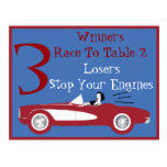 Retro Bunco Red Convertible Table Card #3 Postcards