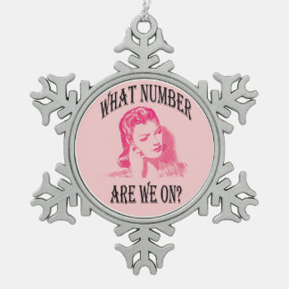 Retro Bunco Women What Number Are We On? Snowflake Pewter Christmas Ornament