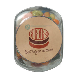 Retro Burger Glass Candy Jar