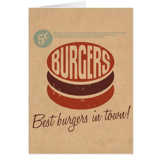 Retro Burger Greeting Cards