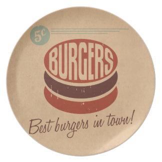 Retro Burger Party Plates