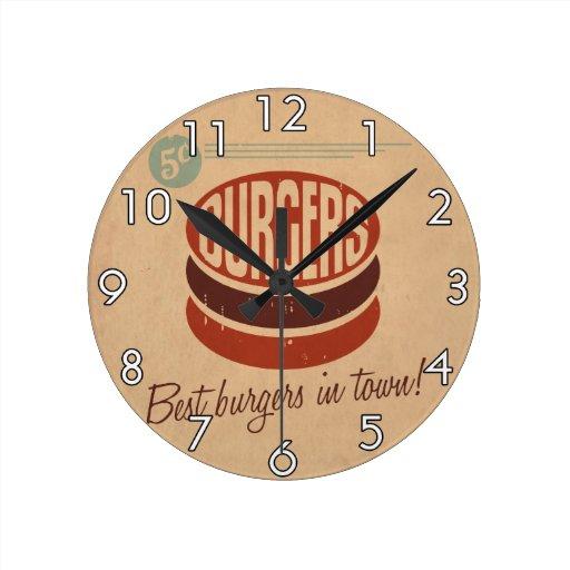 Retro Burger Round Clock