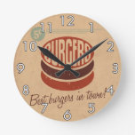 Retro Burger Round Wall Clock