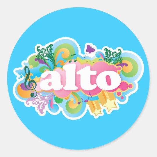 Retro Burst Alto Singer Choir Gift Classic Round Sticker