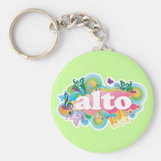 Retro Burst Alto Singer Choir Gift Basic Round Button Keychain