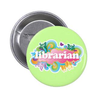 Retro Burst Colorful Librarian Gift Button
