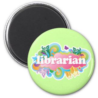 Retro Burst Colorful Librarian Gift Refrigerator Magnet