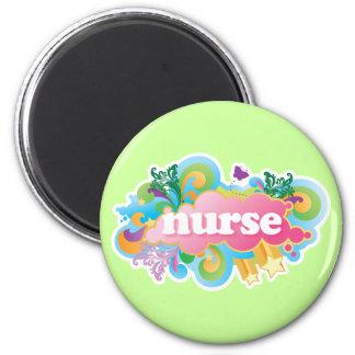 Retro Burst NURSE Gift 2 Inch Round Magnet