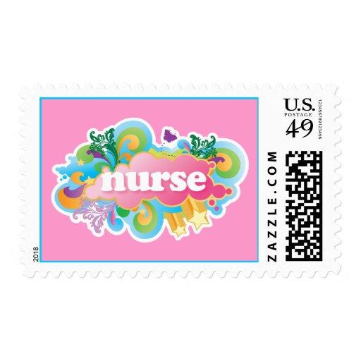 Retro Burst NURSE Gift Postage Stamp