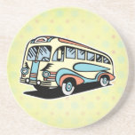 retro bus motor coach beverage coasters