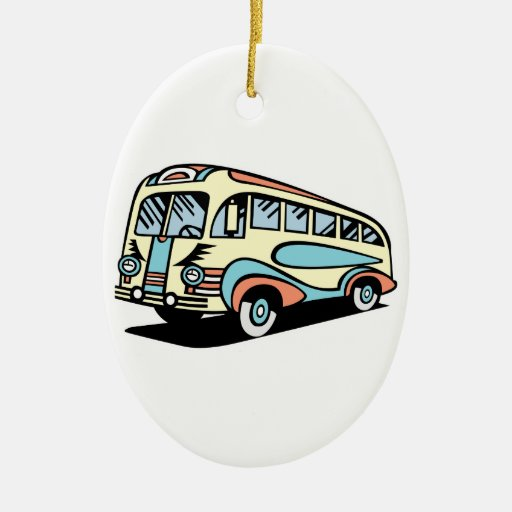 retro bus motor coach christmas ornaments