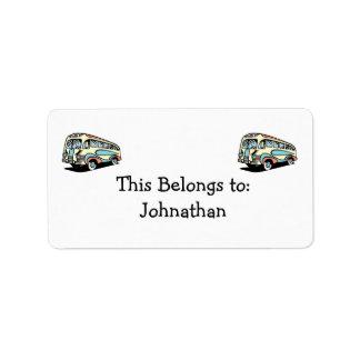 retro bus motor coach address label