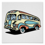 retro bus motor coach poster