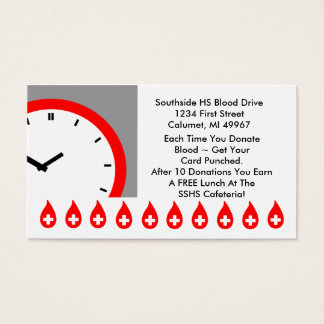 Retro Business Punch Cards Blood Drive clock face
