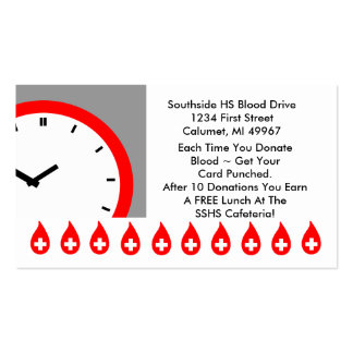Retro Business Punch Cards Blood Drive clock face Double-Sided Standard Business Cards (Pack Of 100)