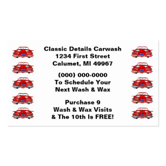 Retro Business Punch Cards Classic Cars Automotive Double-Sided Standard Business Cards (Pack Of 100)