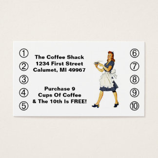 Retro Business Punch Cards Diner happy Waitress
